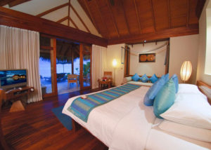 Sunset Beach Villa bedroom, Anantara Dhigu Resort & Spa