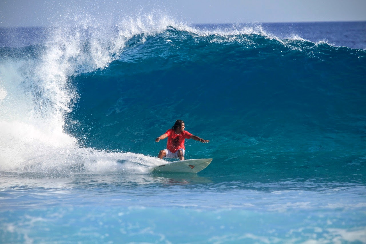 Dara surfing at Pasta Point, Chaaya Island Dhonveli
