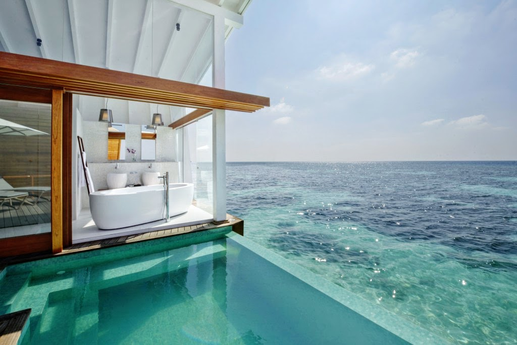 Ocean Pool Villa's Glass Bathroom, Kandolhu Island