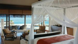 Royal Beach Villa bedroom, Four Seasons Resort Maldives at Kuda Huraa
