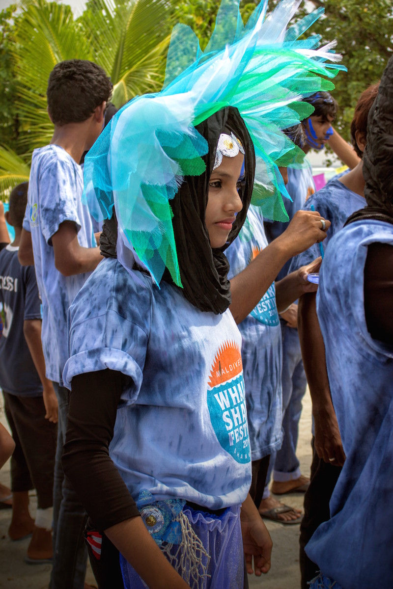 A Young Artist from Dhangethi Models her Festival Costume Design at for MWSFEST14