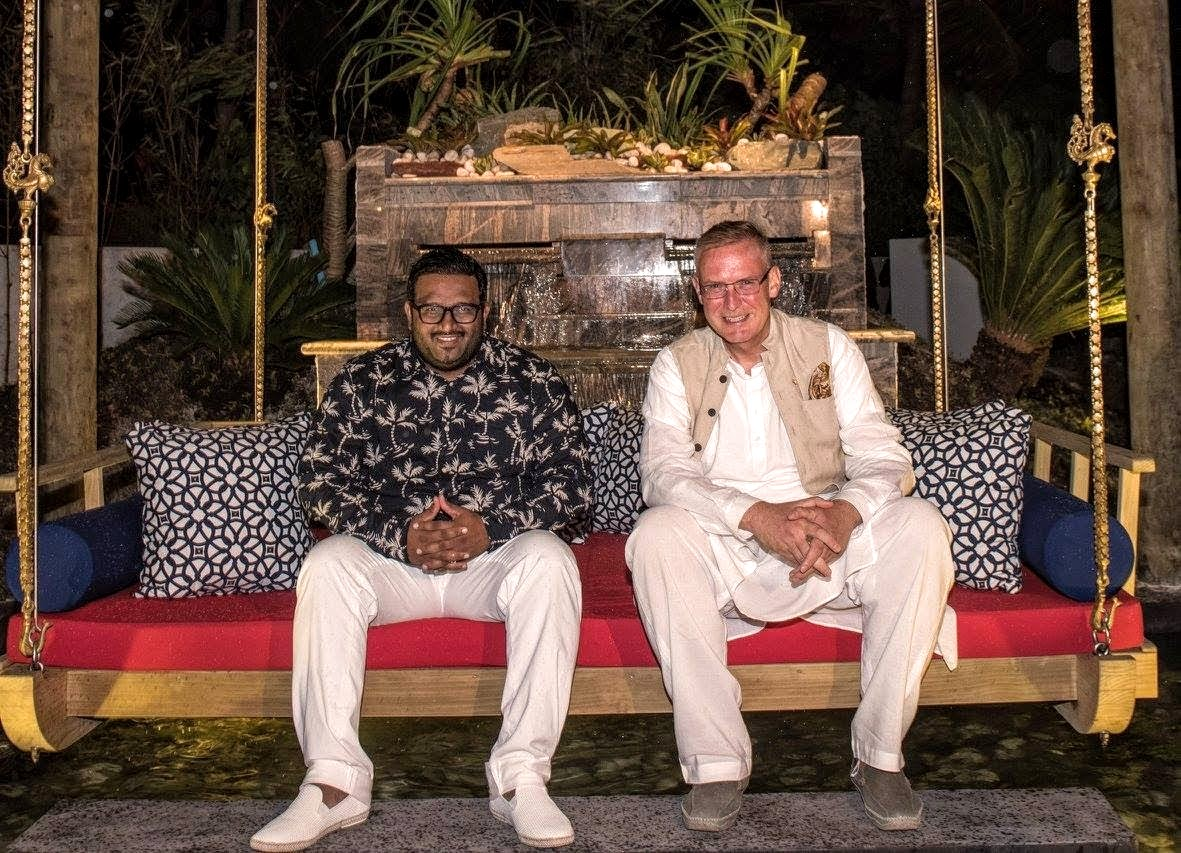 Jumeirah Vittaveli's General Manager Mr Graham Kiy & His Excellency Mr Ahmed Adeeb Abdul Gafoor relax on Swarna's Indian Jhoola — with Vice President of Maldives - Ahmed Adeeb at Jumeirah Vittaveli, Maldives