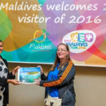 First visitor, Ms Kate Holmes, Outrigger Konotta Maldives Resort