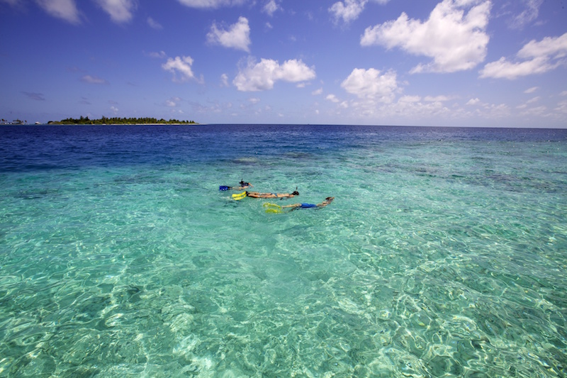 Snorkeling around the deserted island