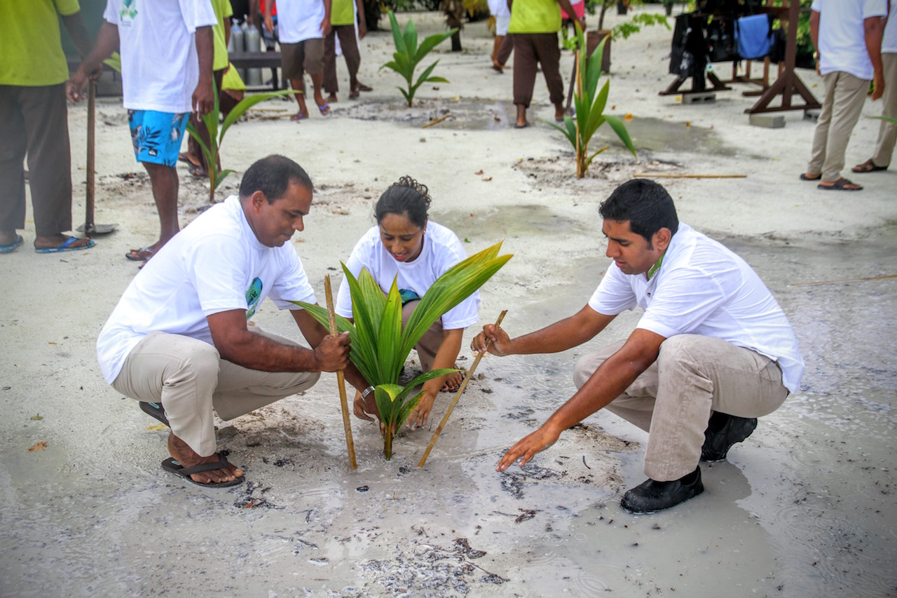 Tree planting Earth Day 2016, Kurumba Maldives
