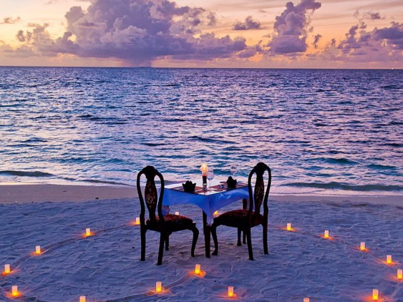 Romantic Candle Light Dinner on the beach, Crystal Sands