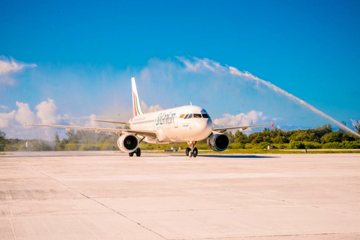 Receiving-the-water-canon-salute-at-the-Gan-International-Airport-today.We-become-the-first-and-the-only-international-airline-to-touch-down-at-Gan-Island-Maldives-1